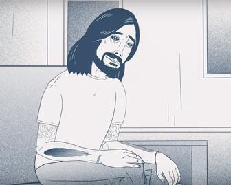 Watch the energetic animated interview with Dave Grohl about Foo Fighters' new album, Concrete and Gold