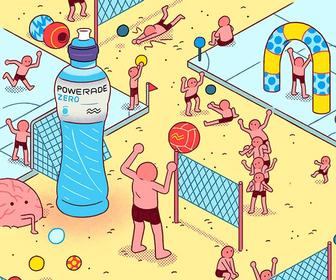 Ken Sausage's illustrations for Powerade mash-up Where's Wally with Morph