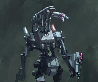 Create a digital painting of a robot mech