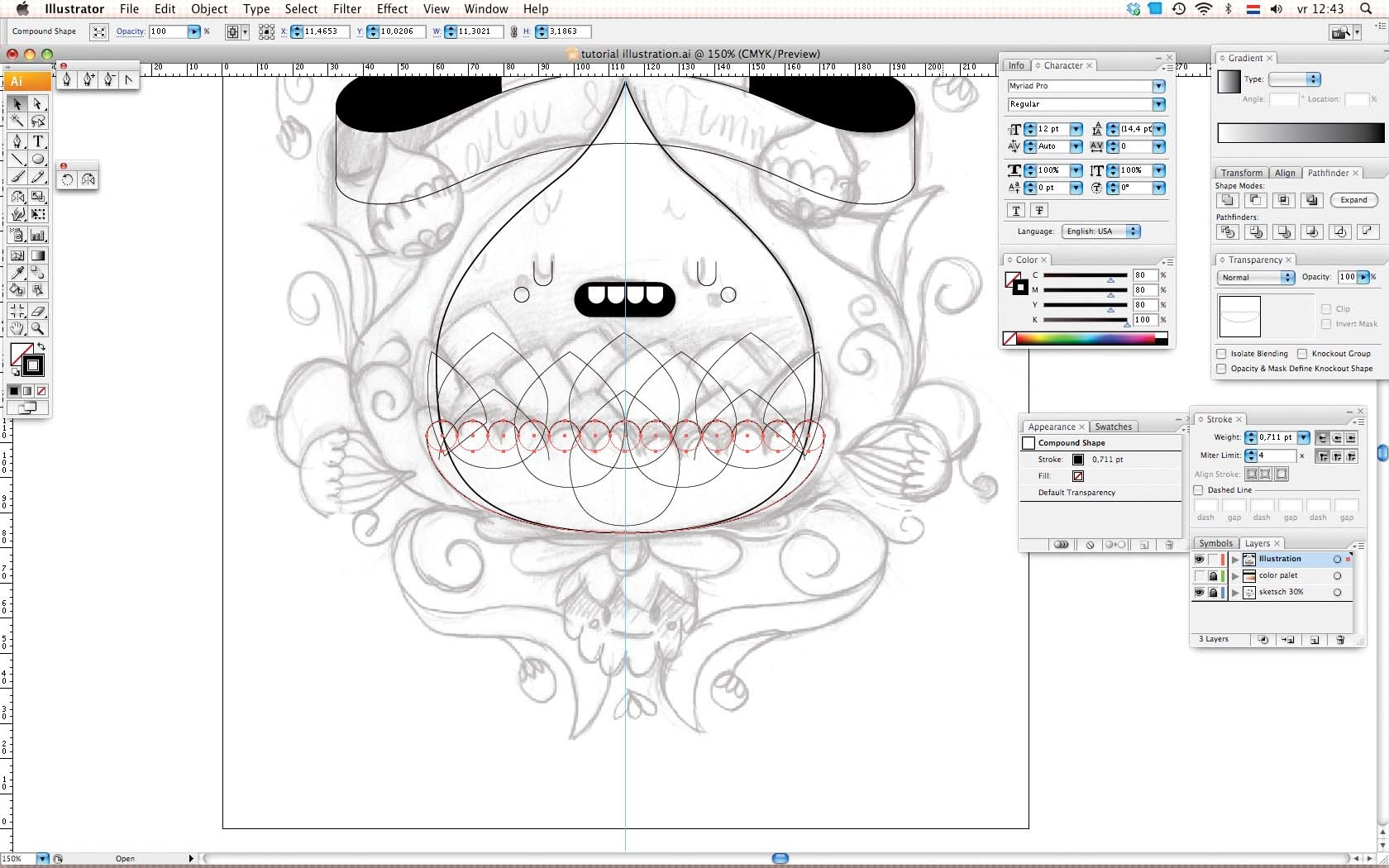 Character Design Tutorial Step By Step : Adobe illustrator tutorial design symmetrical character