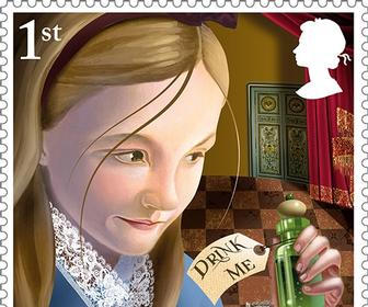 These new Alice in Wonderland stamps & pop-up book feature wonderful illustrations