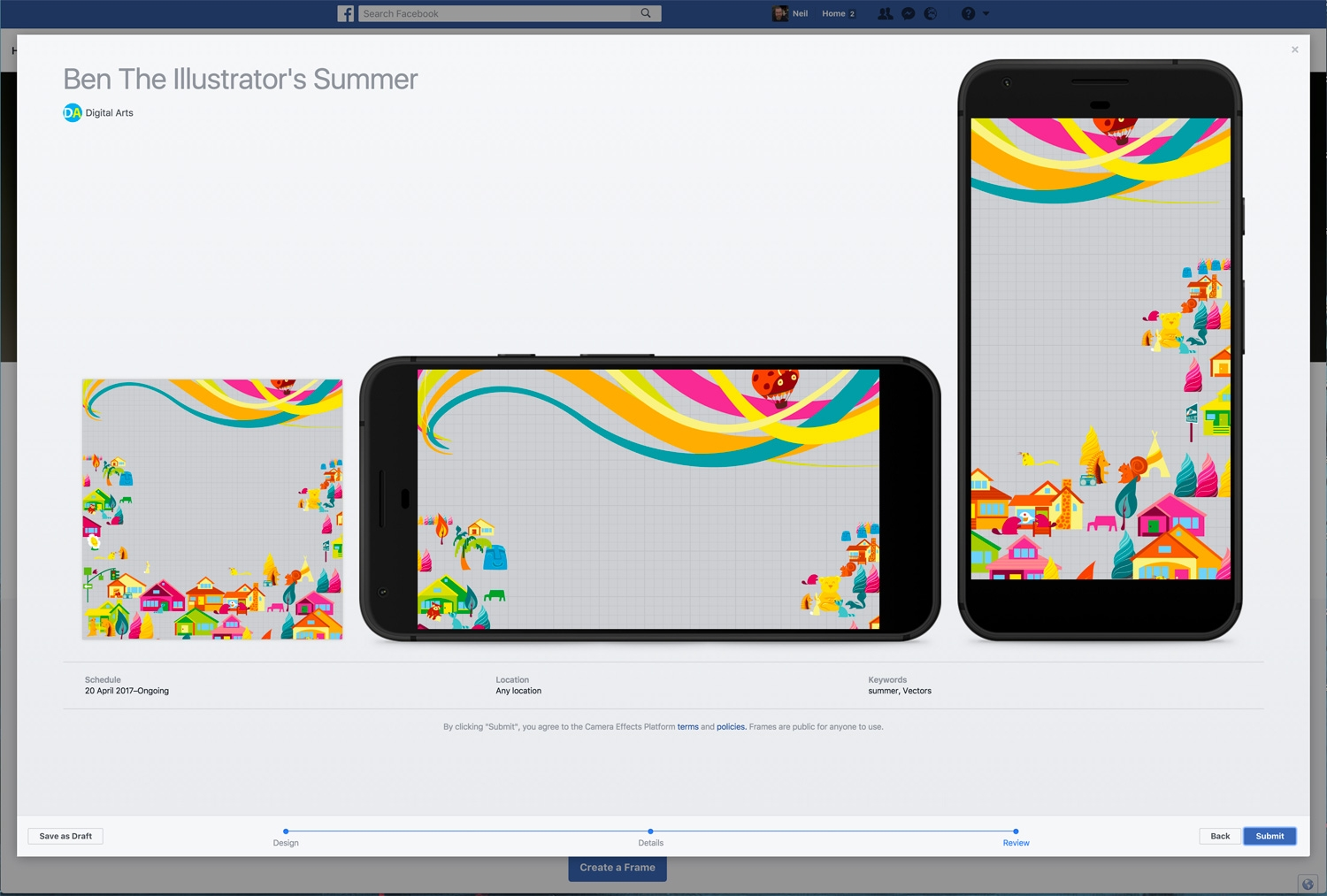 Picture frames for facebook photos page 6 frame design selfie frames vibrant colour source submitting it to facebook for approval unfortunately there s no way to test it on your jeuxipadfo Gallery